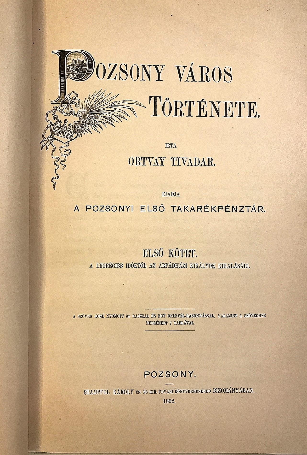 Pozsony Város Története. I, II. (1-4), III., IV (1) - komplet